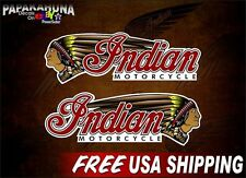 "Pair of 3"" x 9.5"" INDIAN MOTORCYCLE Gas Tank Vinyl Decals Saddle Bag Stickers"