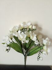 "14"" Ivory Freesia Bunch Artificial Fake Silk Flowers Wedding Posy Grave Bouquet"