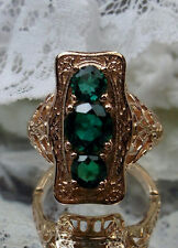 1.2ctw Green Emerald Sterling Silver & Rose Gold Edwardian Filigree Ring Size 6