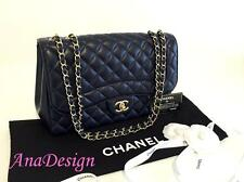 Authentic Chanel Mademoiselle Chic Jumbo Blue Lambskin Single Flap Bag Pristine!