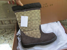 NEW COACH SHERMAN SIG MID FLEECE LINED BOOTS WOMENS 8 A00771 BROWN SIGNATURE