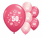 "20 x 50TH BIRTHDAY PINK MIX 11"" HELIUM OR AIRFILL BALLOONS (PA)"