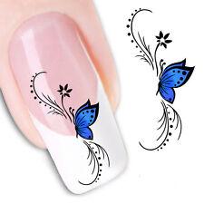 Pegatinas  stickers Nº 14 decoración de uñas, nail art FX1439 Mariposa zul