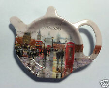 London tea bag holder NEW perfect teapot shaped dish England teabag tidy Macneil