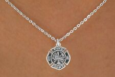 Firefighter Maltese Cross Silvertone Charm Necklace