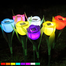 Solar Powered Tulip Flower LED Light Yard Garden Path Way Landscape blue Lamp
