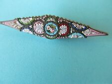 LONG SLENDER ITALIAN MICRO MOSAIC COLORFUL MULTI-TONES DESIGNED BROOCH PIN