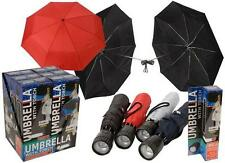 "21""UMBRELLA WITH COVER, STRAP AND TORCH FOLDING BRIGHT LED LIGHT MEN / WOMEN UK"