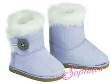 LAVENDER SUEDE BOOTS SHOES W/ Button fit American Girl Dolls NEW EWE SHERPA