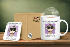 Worlds Coolest Doctor Pink Mug And Matching Coaster Set