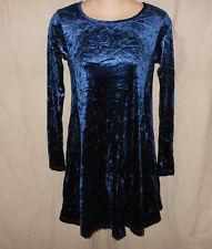 VTG 90s M Blue Crush Velvet Babydoll Mini Dollie Dress Grunge Gothic Contempo M