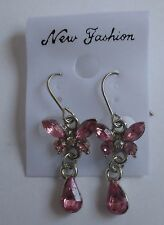 b pink DANGLE BUTTERFLY EARRINGS costume jewelry new
