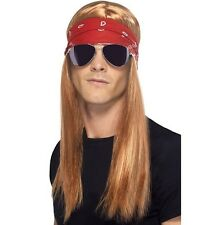 90s 1990s Mens Rocker Fancy Dress Wig Kit Axl Wig Set Auburn New by Smiffys