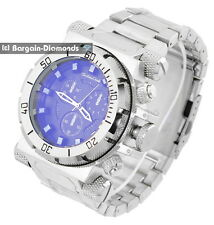 mens big heavy steel tone business sports watch blue dial heavy bracelet