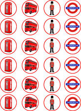 London Red Bus Telephone Box Beefeater Edible Cupcake Toppers x 24