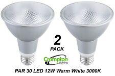 2 x Crompton LED PAR30 Floodlight Globes / Bulb 12W 240V E27 Warm White 3000K