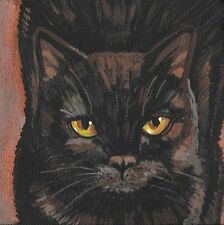 4X4 PRINT OF PAINTING RYTA BLACK CAT PORTRAIT HALLOWEEN ART REALISM GOTHIC FOLK