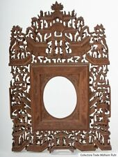 China 19. Jh. Holz - A Chinese Fret Cut & Carved Wood Frame Cinese Chinois Qing