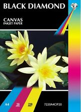 20 Sheets Black Diamond Photographic A4 White Canvas Texture Inkjet Paper 220gsm