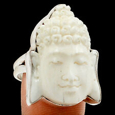Face - Buddha Camel Bone 925 Sterling Silver Ring Jewelry s.8 SR186059