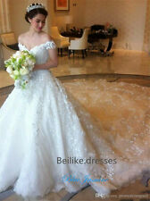 2017 Gorgeous Off-shoulder Cathedral Tail Wedding Dress Bridal Gown Custom Size