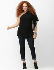 Lane Bryant Black Knit One Shoulder Top with Chiffon Batwing Sleeve 22/24 2X 3X