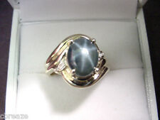 GREENISH BLUE STAR SAPPHIRE 4.23 CTS and DIAMONDS 10K GOLD RING