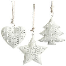 Set of 3 Vintage Christmas Hanging Metal Ornament Tree Star Heart Decorations