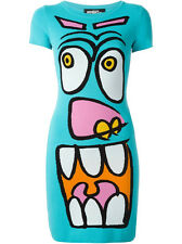 JEREMY SCOTT TURQUOISE CARTOON FACE BODYCON DRESS MADE IN ITALY SIZE UK8 (IT40)