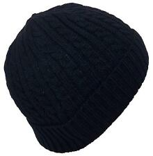 Angela & William Adult Tight Cable & Rib Knit Cuffed Winter Hat, Cap, #873 Black