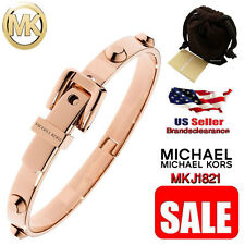 NEW Michael Kors Women's Astor Buckle Bangle Bracelet Rose Gold Tone MKJ1821