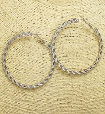 Large Rope Style Silver Hoop Earrings ( Light Weight )