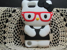 For IPod Touch 5 5th Gen 3D Hello Kitty Glasses 3D Character Case Cover Blk/Red