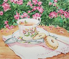 JOANNE HEATH-MENGER - Afternoon Tea - Watercolor Painting - Canada - Circa 1980