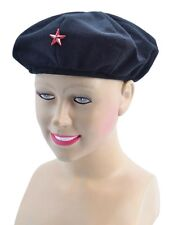 RED #ARMY BERET COMMUNIST HAT RED STAR MARXIST REVOLUTIONIST CUBA FANCY DRESS