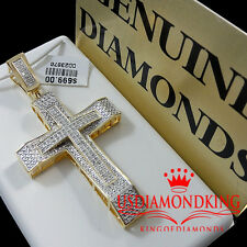 MENS LADIES REAL GENUINE DIAMOND.35CTW YELLOW GOLD G/P JESUS CROSS CHARM PENDENT