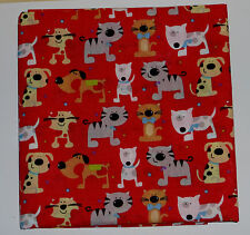 2 fat quarters in polycotton with fun cats and dogs in bright colours on red