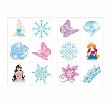 12 x Ice Princess Snow Queen Temporary Tattoos Kids Girls Party Bag Filler Toy