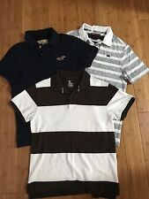 hollister men's small navy short sleeve polo shirts lot of 3