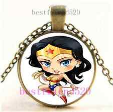 Vintage Wonder Woman Photo Cabochon Glass Bronze Chain Pendant Necklace#E91