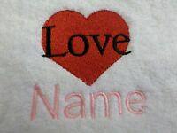 LOVE HEART and Personalised Name Embroidered on Towels Bath Robes Hooded Towel