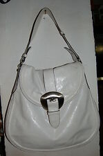 Francesco Biasia Large White Polished Leather Shoulder Bag