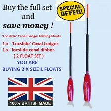 "'Locslide' Canal Ledger Fishing Floats. Fish Any Depth On A Float. ""2 FLOAT SET"""