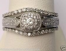 White Gold Round Halo Vintage Style Diamonds Engagement Bridal Set Wedding Ring