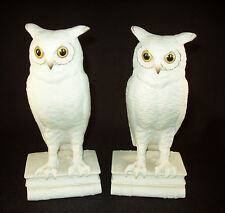 Limited Production Boehm White Bisque Porcelain Owl Bird 'Bookends'