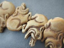 Camel Bones Carved Hog Beads 9pcs