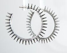 Fenton & Fallon Silver Micro Spike Hoop Earrings