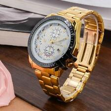 Luxury Mens Gold Stainless Steel Date Quartz Analog Wrist Watch White Dial DH DH