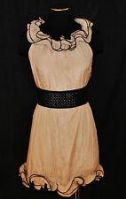 CHIC URBAN MANGO TAUPE w/ BLACK TRIM RUFFLE DRESS SHEATH TUNIC TOP BLOUSE S/M