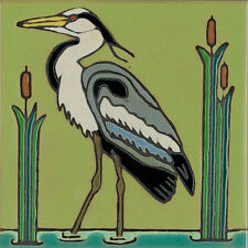 Ceramic Tile Heron, Bird, hot plate, wall decor, installation , hand crafted